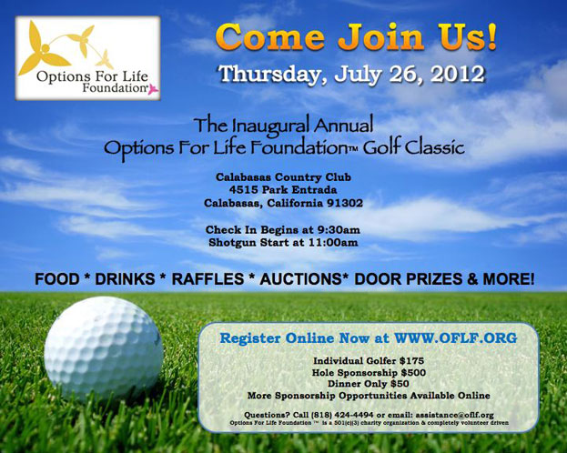 Non-Profit Fundraising Golf Tournament at Calabasas Country Club, July 26, 2012